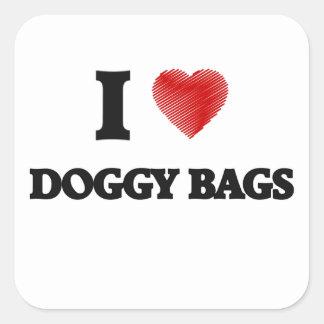 Ik houd van Van een hond Zakken Vierkante Sticker