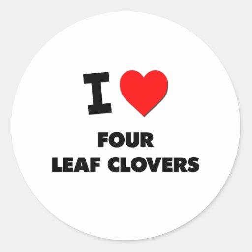 Ik houd van Vier Klavers van het Blad Ronde Stickers