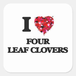 Ik houd van Vier Klavers van het Blad Vierkante Stickers