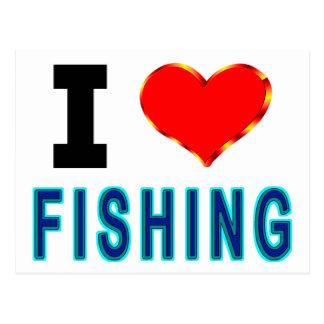 Ik houd van vissend briefkaart