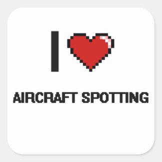 Ik houd van Vliegtuig die Digitaal Retro Ontwerp Vierkante Sticker