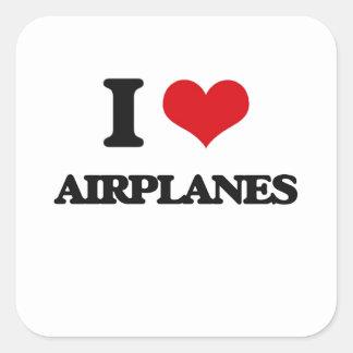 Ik houd van Vliegtuigen Vierkant Sticker