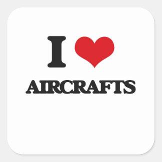 Ik houd van Vliegtuigen Vierkant Stickers