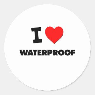 Ik houd van Waterdicht Ronde Sticker