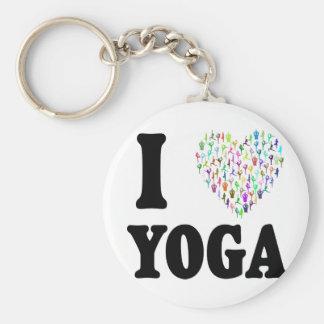 Ik houd van Yoga Basic Ronde Button Sleutelhanger