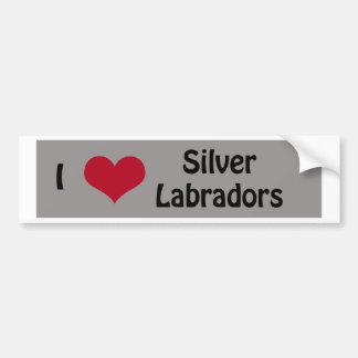 Ik houd van Zilveren Labradors Bumpersticker