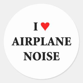 Ik houd vliegtuig van lawaai ronde stickers
