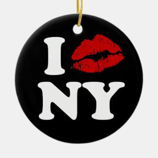 Ik kus New York Rond Keramisch Ornament