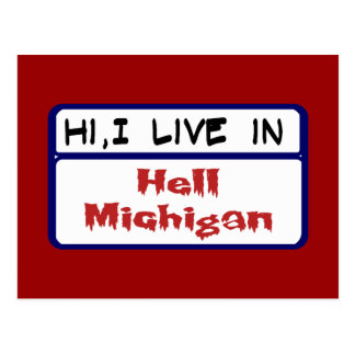 Ik leef in Hel Michigan Briefkaart