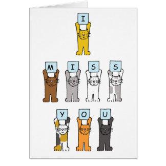 Ik mis u, leuke katten wenskaart