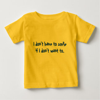 """ik moet"" geen kleding glimlachen baby t shirts"