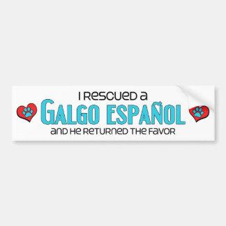 Ik redde een Galgo Español (Mannelijke Hond) Bumpersticker