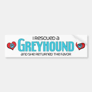 Ik redde een Windhond (Vrouwelijke Hond) Bumpersticker