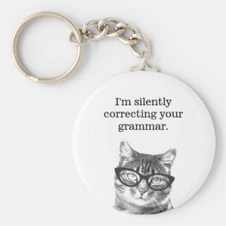 Ik verbeter stil uw grammaticakat keychain sleutelhanger