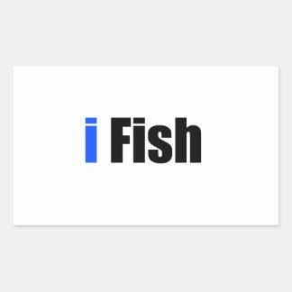 ik vis rechthoekige sticker