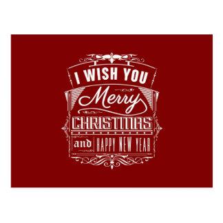 Ik wens u Vrolijke Kerstmis en een Gelukkig Briefkaart