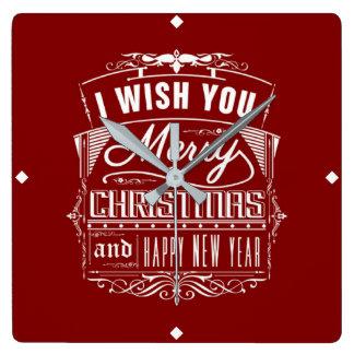 Ik wens u Vrolijke Kerstmis en een Gelukkig Vierkante Klok