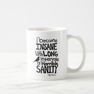 """""""Ik werd Krankzinnig…"""" Citaat door Edgar Allan Poe Koffiemok"""