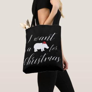 Ik wil een Nijlpaard voor Mooie Kerstmis Draagtas