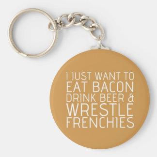 Ik wil enkel - Bacon & Frenchies Basic Ronde Button Sleutelhanger