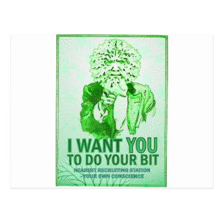 Ik wil u uw beetje doen - het Groene Man spreekt Briefkaart