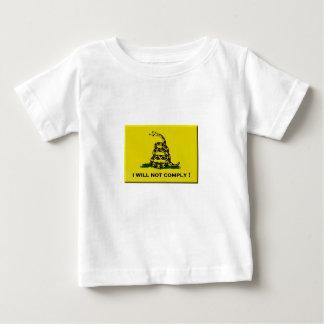 Ik zal niet voldoen baby t shirts