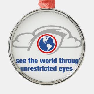 Ik zie de Wereld door Onbeperkte Ogen Zilverkleurig Rond Ornament