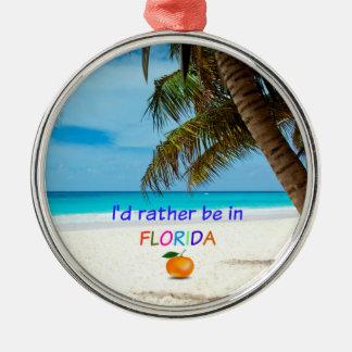 Ik zou eerder in Florida, tropische scène zijn Zilverkleurig Rond Ornament