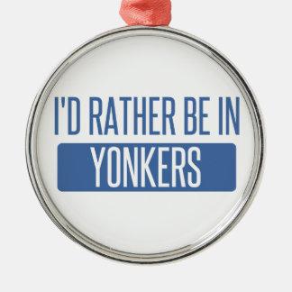 Ik zou eerder in Yonkers zijn Zilverkleurig Rond Ornament