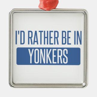 Ik zou eerder in Yonkers zijn Zilverkleurig Vierkant Ornament