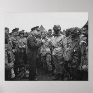 Ike die met In de lucht op D-dag spreken Poster