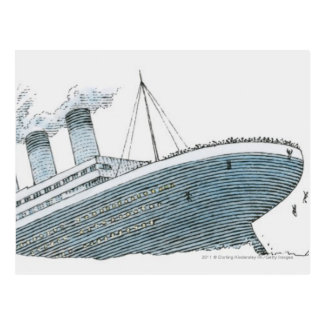 Illustratie die van passagier van Kolossaal vallen Briefkaart