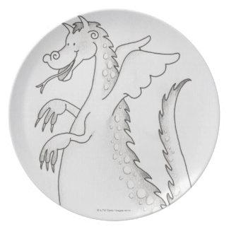 Illustratie, het glimlachen gevleugelde draak met bord