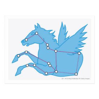Illustratie van constellatie Pegasus Briefkaart