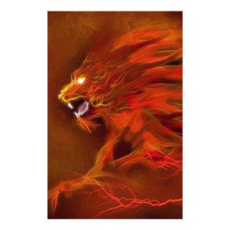 Illustratie van de leeuw de artistieke vlammen van briefpapier