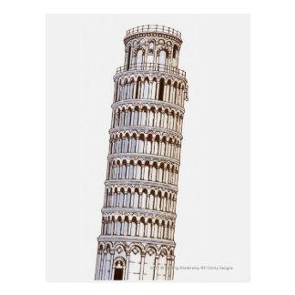 Illustratie van de Toren van Pisa Briefkaart