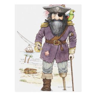 Illustratie van een piraat met neergestreken briefkaart