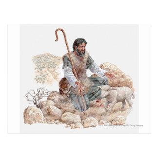 Illustratie van herder die zijn verloren schapen briefkaart