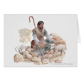 Illustratie van herder die zijn verloren schapen wenskaart