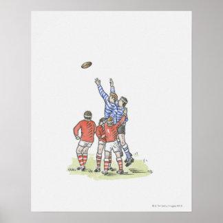 Illustratie van man die rugby spelen die in lucht poster