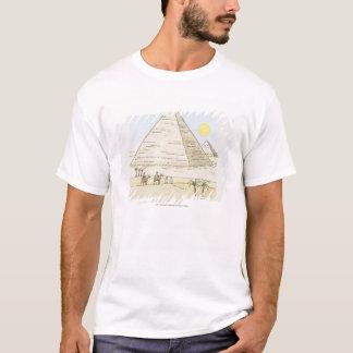 Illustratie van piramides en man met kamelen t shirt