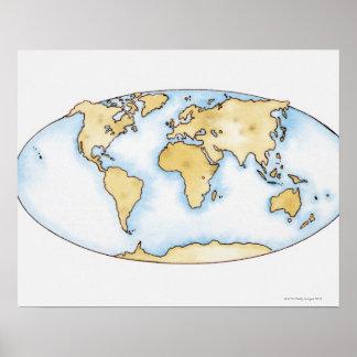 Illustratie van wereldkaart poster