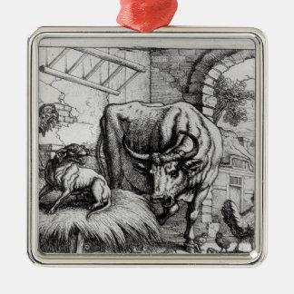 Illustratie voor de 'Hond en Ox Zilverkleurig Vierkant Ornament