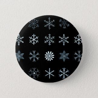 Illustraties van (zwarte) Sneeuwvlokken Ronde Button 5,7 Cm