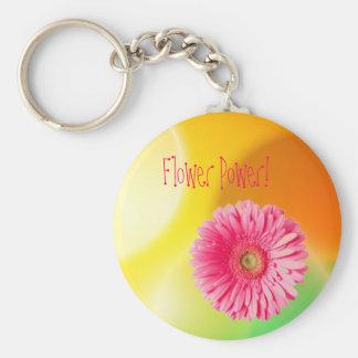 img26, gerber madeliefje, Flower power! Basic Ronde Button Sleutelhanger