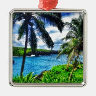 IMG_1122 4 Hawaiiaanse Scène Zilverkleurig Vierkant Ornament