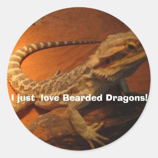 IMG_4705, houd ik enkel van Gebaarde Draken! Ronde Sticker
