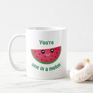 in een Grappige Leuke Watermeloen Kawaii van de Koffiemok