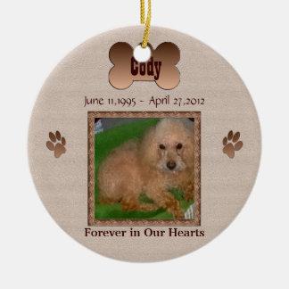In Geheugen van Uw Hond Rond Keramisch Ornament