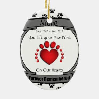 In Geheugen van Uw voor altijd Herinnerde Hond of Keramisch Ovaal Ornament